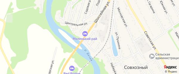 Дорожная улица на карте Совхозного поселка Адыгеи с номерами домов
