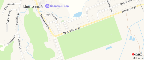 Шоссейная улица на карте Цветочного поселка Адыгеи с номерами домов