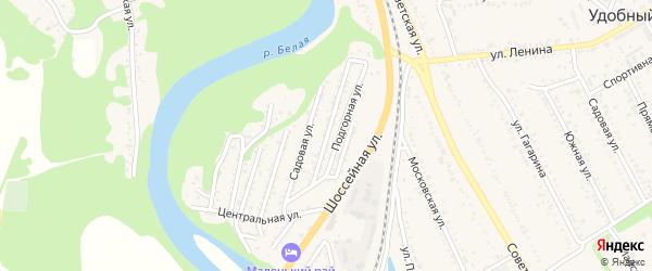 Зеленая улица на карте Совхозного поселка Адыгеи с номерами домов