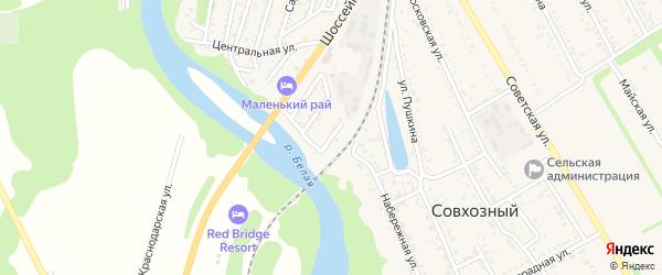 Железнодорожная улица на карте Совхозного поселка Адыгеи с номерами домов