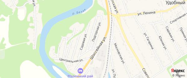 Подгорная улица на карте Совхозного поселка Адыгеи с номерами домов
