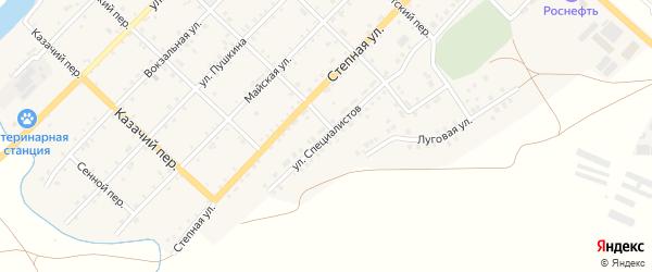 Улица Специалистов на карте Кагальницкой станицы Ростовской области с номерами домов