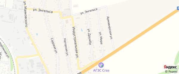 Улица Дружбы на карте хутора Северо-Восточные Садов Адыгеи с номерами домов