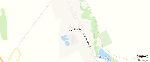 Дорога А/Д Дьяков-Калмыков на карте хутора Дьякова Адыгеи с номерами домов