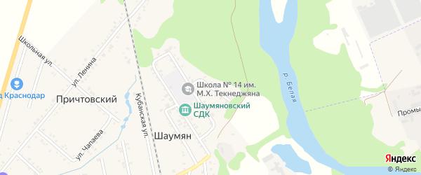 Партизанская улица на карте хутора Шаумяна с номерами домов