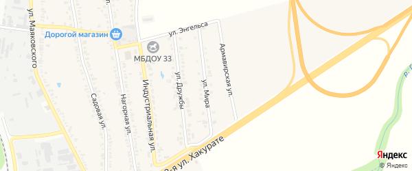 Улица Мира на карте хутора Северо-Восточные Садов Адыгеи с номерами домов