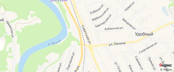 Советская улица на карте Удобного поселка Адыгеи с номерами домов
