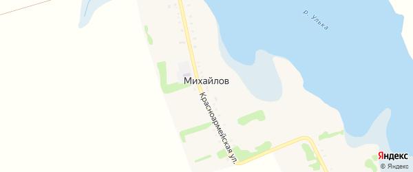 Заречная улица на карте хутора Михайлова Адыгеи с номерами домов