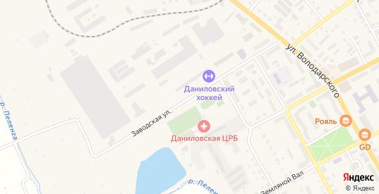 Заводская улица в Данилове с номерами домов на карте. Спутник и схема онлайн