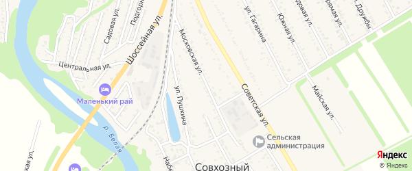 Московская улица на карте Совхозного поселка Адыгеи с номерами домов