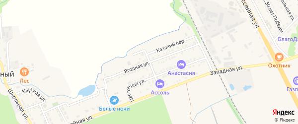 Ягодная улица на карте Тульского поселка Адыгеи с номерами домов