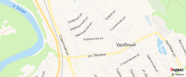 Кубанская улица на карте Удобного поселка Адыгеи с номерами домов