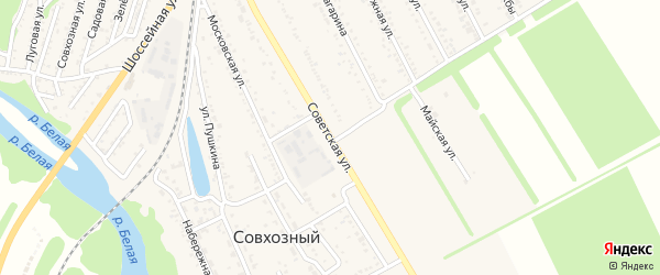 Советская улица на карте Совхозного поселка Адыгеи с номерами домов