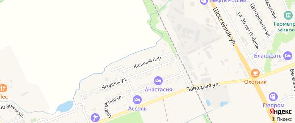 Казачий переулок на карте Тульского поселка Адыгеи с номерами домов