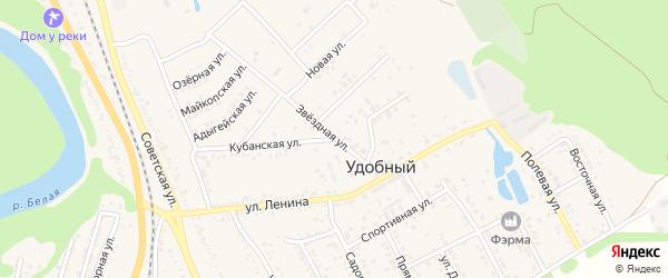 Звездная улица на карте Удобного поселка Адыгеи с номерами домов