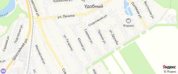 Садовая улица на карте Удобного поселка Адыгеи с номерами домов