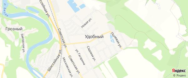 Карта Удобного поселка в Адыгее с улицами и номерами домов