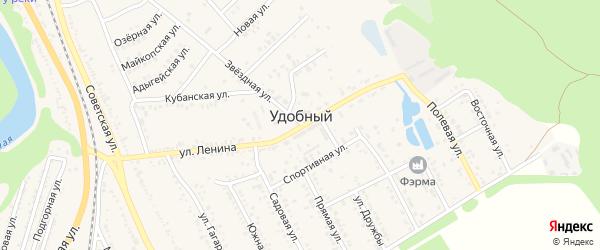 Янтарный проулок на карте Удобного поселка Адыгеи с номерами домов