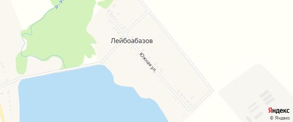 Южная улица на карте хутора Лейбоабазова Адыгеи с номерами домов