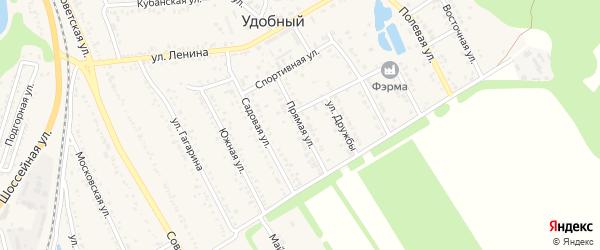 Прямая улица на карте Удобного поселка Адыгеи с номерами домов