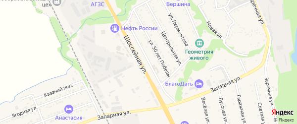 Шоссейная улица на карте Тульского поселка Адыгеи с номерами домов
