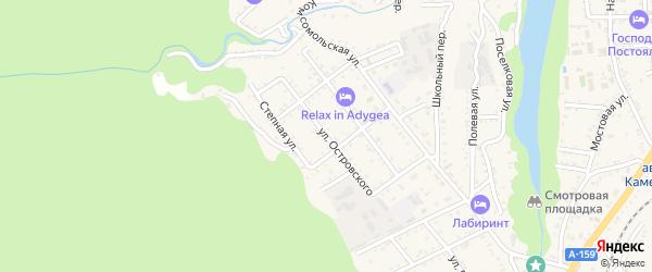 Улица Островского на карте Каменномостского поселка Адыгеи с номерами домов
