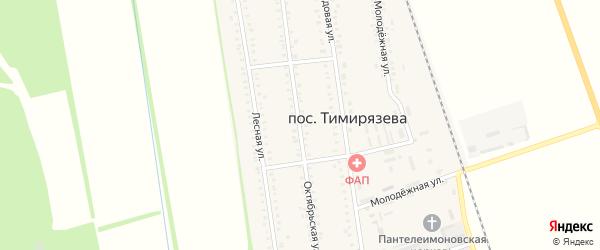 Октябрьская улица на карте поселка Тимирязева Адыгеи с номерами домов