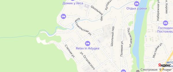 Подгорная улица на карте Каменномостского поселка Адыгеи с номерами домов