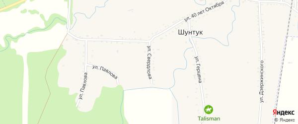 Улица Свердлова на карте хутора Шунтука Адыгеи с номерами домов