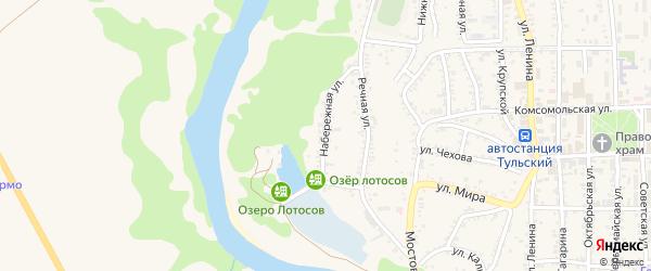 Набережная улица на карте Тульского поселка Адыгеи с номерами домов