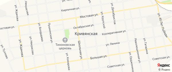 Карта Кривянской станицы в Ростовской области с улицами и номерами домов