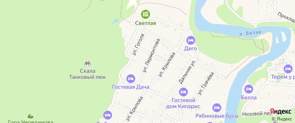 Улица Лермонтова на карте Каменномостского поселка Адыгеи с номерами домов
