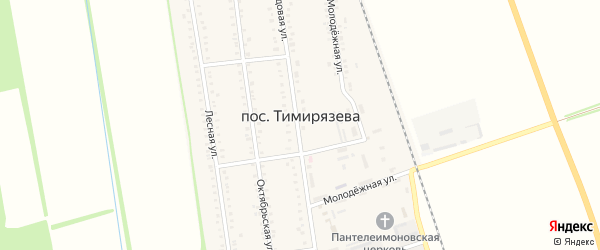 Зеленая улица на карте поселка Тимирязева Адыгеи с номерами домов