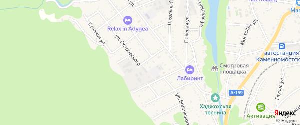 Улица Белинского на карте Каменномостского поселка Адыгеи с номерами домов