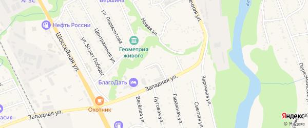 Гаражный переулок на карте Тульского поселка Адыгеи с номерами домов