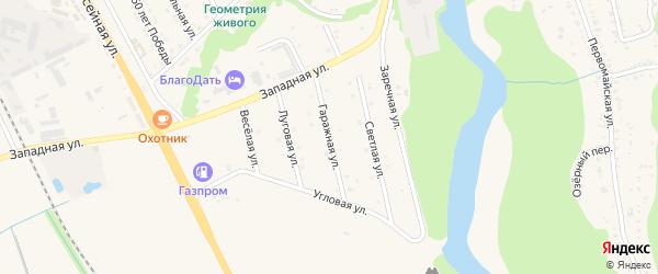 Гаражная улица на карте Тульского поселка Адыгеи с номерами домов