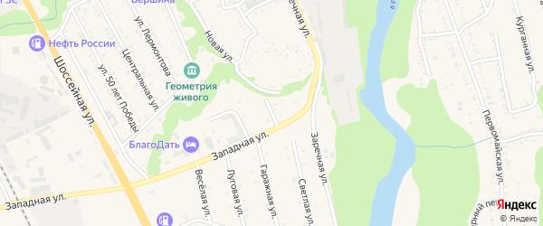 Светлый переулок на карте Тульского поселка Адыгеи с номерами домов