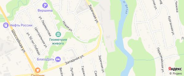 Заречная улица на карте Тульского поселка Адыгеи с номерами домов