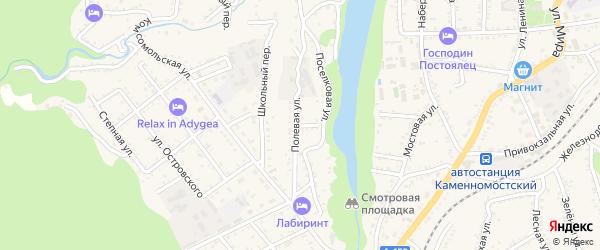 Полевая улица на карте Каменномостского поселка Адыгеи с номерами домов