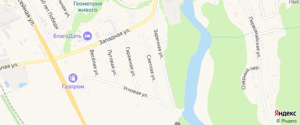 Светлая улица на карте Тульского поселка Адыгеи с номерами домов