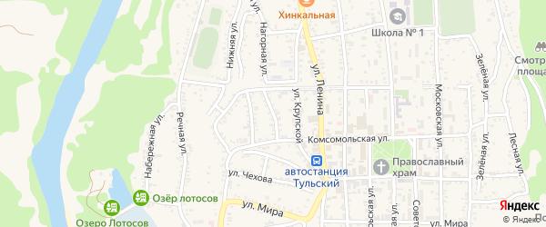 Короткая улица на карте Тульского поселка Адыгеи с номерами домов
