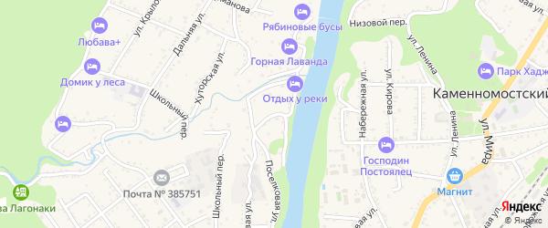 Обрывной переулок на карте Каменномостского поселка Адыгеи с номерами домов