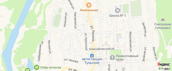 Улица Крупской на карте Тульского поселка Адыгеи с номерами домов