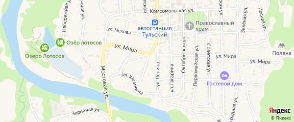 Пионерская улица на карте Тульского поселка Адыгеи с номерами домов