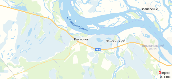 Рикасиха на карте