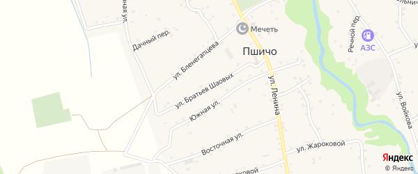 Улица Братьев Шаовых на карте аула Пшичо Адыгеи с номерами домов