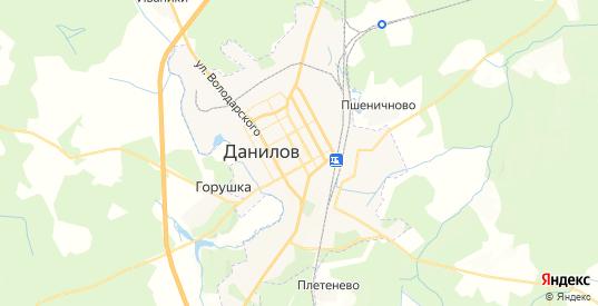 Карта Данилова с улицами и домами подробная. Показать со спутника номера домов онлайн