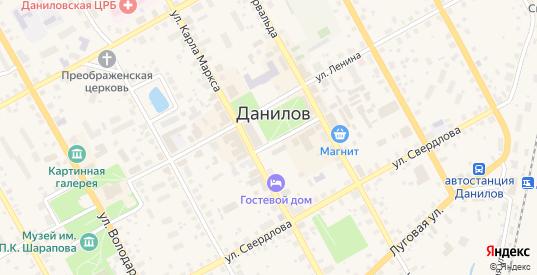 Переулок Мелиораторов в Данилове с номерами домов на карте. Спутник и схема онлайн