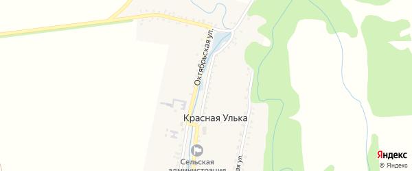 Октябрьская улица на карте хутора Красной Ульки Адыгеи с номерами домов