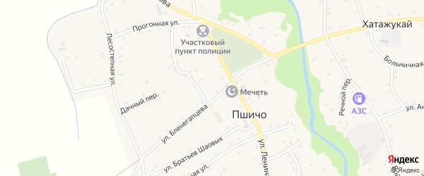 Короткая улица на карте аула Пшичо Адыгеи с номерами домов